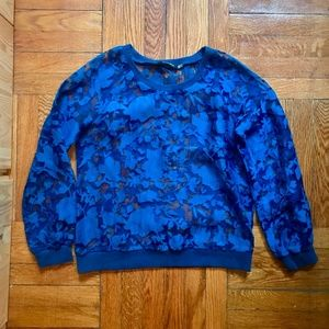 Wells Grace Sheer Lace Applique Pullover - Blue